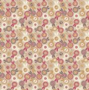 Lewis & Irene Farley Mount - 5577  - Rosettes on Beige - A228.1 - Cotton Fabric